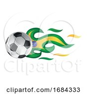 Soccer Ball With Brazil Flag Flames