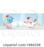 Poster, Art Print Of Owls Throwing A Snowball At Santa