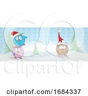 Christmas Owls Throwing Snowballs
