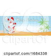 Merry Christmas Surfboard Santa Banner