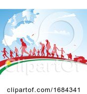Immigration People With Kurdistan Flag On Europe Map Background