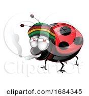Poster, Art Print Of Ladybug Smoking Cannabis