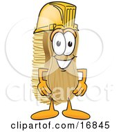 Scrub Brush Mascot Cartoon Character Wearing A Yellow Hardhat Helmet