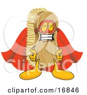 Clipart Picture Of A Scrub Brush Mascot Cartoon Character Dressed As A Super Hero