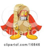 Scrub Brush Mascot Cartoon Character Dressed As A Super Hero