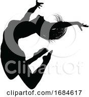 Poster, Art Print Of Silhouette Dancer Jumping