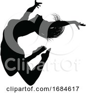 Silhouette Dancer Jumping
