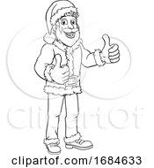 Young Santa Sign Thumbs Up Christmas Cartoon