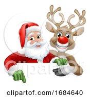 Santa Claus And Reindeer Christmas Cartoon
