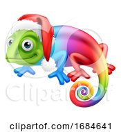 Christmas Rainbow Chameleon In Santa Hat Cartoon by AtStockIllustration