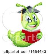 Poster, Art Print Of Book Worm Reading Cartoon