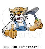 Poster, Art Print Of Wildcat Car Or Window Cleaner Holding Squeegee