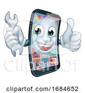 Mobile Phone Repair Spanner Thumbs Up Cartoon