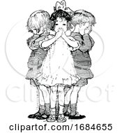Retro Vintage Black And White Wise Children Covering Their Ears Mouth And Eyes