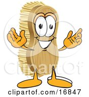 Poster, Art Print Of Scrub Brush Mascot Cartoon Character With Welcoming Open Arms