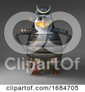 Casual 3d Samurai Penguin Warrior With Hands On Hips 3d Illustration