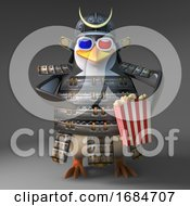 Poster, Art Print Of 3d Samurai Warrior Penguin Character Eating Popcorn While Watching A 3d Movie 3d Illustration