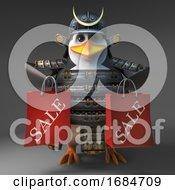 3d Penguin Samurai Warrior Holding Two Sale Bags After Shopping 3d Illustration