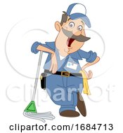 Cartoon Happy Male Janitor