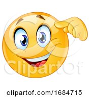 Poster, Art Print Of Yellow Smiley Emoji Pointing To His Head