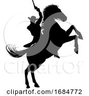 Poster, Art Print Of Cowboy Riding Horse Silhouette