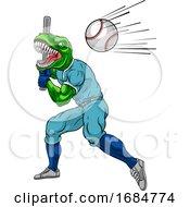 Poster, Art Print Of Dinosaur Baseball Player Mascot Swinging Bat