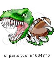 Poster, Art Print Of Dinosaur American Football Animal Sports Mascot