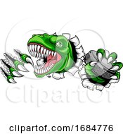 Dinosaur Ice Hockey Player Animal Sports Mascot