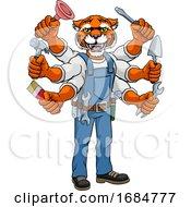 Poster, Art Print Of Tiger Multitasking Handyman Holding Tools