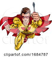 Poster, Art Print Of Electrician Handyman Superhero Holding Screwdriver