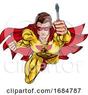 Electrician Handyman Superhero Holding Screwdriver