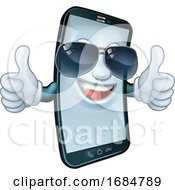 Mobile Phone Cool Shades Thumbs Up Cartoon Mascot