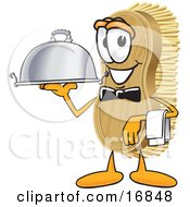 Clipart Picture Of A Scrub Brush Mascot Cartoon Character Serving A Dinner Platter While Waiting Tables