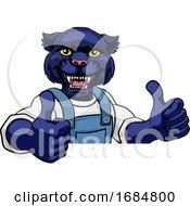 Panther Mascot Plumber Mechanic Handyman Worker by AtStockIllustration
