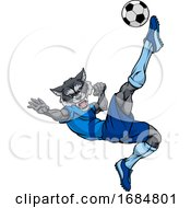 Wolf Soccer Football Player Animal Sports Mascot