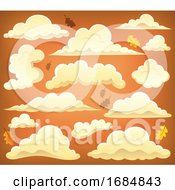 Clouds And Orange Sky With Autumn Leaves