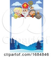 Saint Nicholas Angel And Krampus Over A Border
