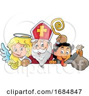 Saint Nicholas Angel And Krampus Over A Sign