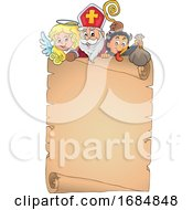 Saint Nicholas Angel And Krampus Over A Scroll
