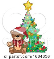 Christmas Teddy Bear By A Tree by visekart