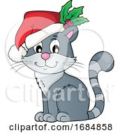 Christmas Cat Wearing A Santa Hat
