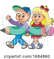 Poster, Art Print Of Students Carrying A Giant Pencil