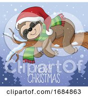 Sloth Sleeping On A Branch Over Merry Christmas Text by visekart