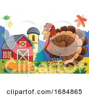 Happy Turkey Bird On A Farm