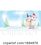 Christmas Sheep And Santa Border