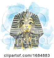 Golden Mask Of Egyptian Pharaoh Hand Drawn Watercolor