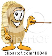 Clipart Picture Of A Scrub Brush Mascot Cartoon Character Using A Pointer Stick To Point To The Right by Toons4Biz