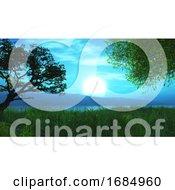 3D Tree And Hills Landscape