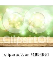 3D Wooden Table On A Bokeh Lights Green Background