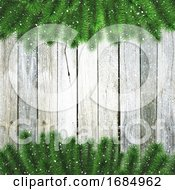 3D Christmas Tree Branches With Snow On A Wooden Texture